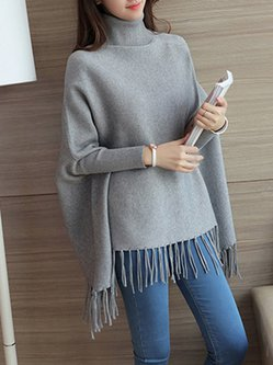 Fringe Batwing Casual Knitted Poncho