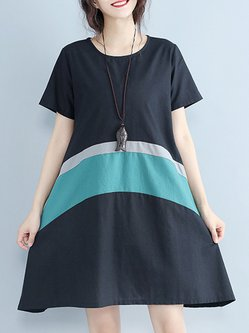 Green Color-block Simple Crew Neck A-line Dress
