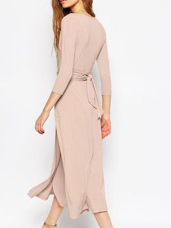 Pink Wrap 3/4 Sleeve Surplice Neck Party Dress