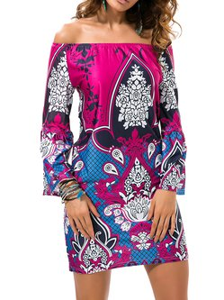 Multicolor Tribal Bell Sleeve Printed Sheath Boho Dress