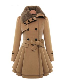 Women's Coat Solid Color Fur Patchwork Warm Fleece Lined Pea Coat