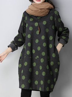 Long Sleeve Polka Dots Cocoon Crew Neck Dress