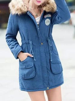 Drawstring Pockets Patch Hoodie Long Sleeve Parka