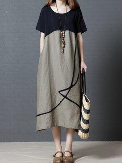 Pockets Paneled Short Sleeve Linen Dress