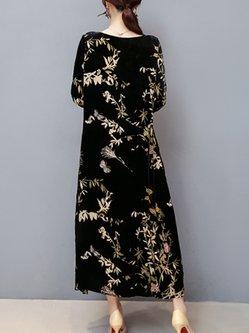 Black Casual Velvet Pockets Plus Size Printed Dress