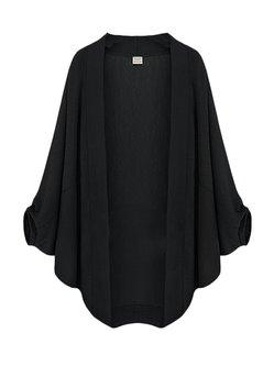 Plus Size Solid Batwing Sleeve Kimono Cardigans