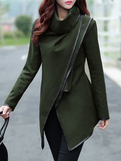 Black Zipper Shawl Collar Plain Long Sleeve Coat