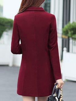 Lapel Buttoned Long Sleeve Wool Blend Plus Size Coat