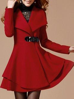Plain Casual Wool Blend Shawl Collar Coat