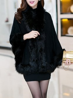 Fur Shearling Embossed Cape Sleeve Poncho