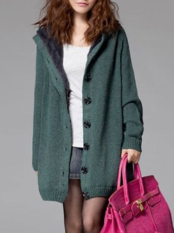 Buttoned Hoodie Knitted Long Sleeve Cardigan