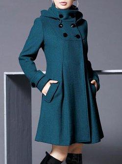 Wool Blend Hoodie Long Sleeve Plain Plus Size Coat