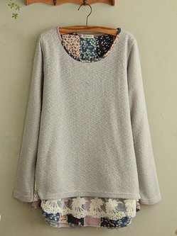 Paneled Long Sleeve Casual Plus Size Sweater