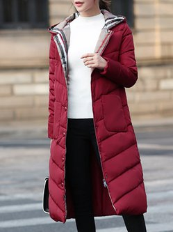 Buttoned Hoodie Long Sleeve Plus Size Parka