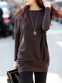 Batwing Solid Casual Plus Size Fleece-lined Tunic
