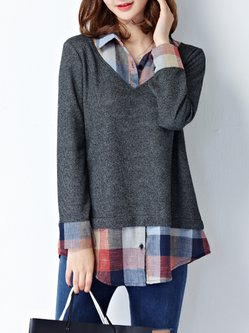 Plus Size One Piece Shirt Collar H-line Casual Blouse