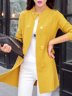 Women's Coat Solid Buttoned Casual Double Breasted Cardigan