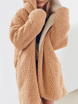 Women's Coat Sided Wear Casual Faux Fur Hoodie Coat