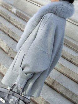 Women's Coat Fluffy Pockets Casual Wool Blend Solid Coat