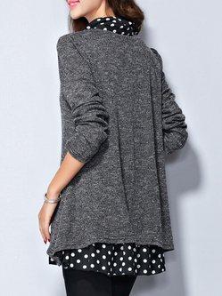 Gray Casual Paneled Cotton Shirt Collar Shirt