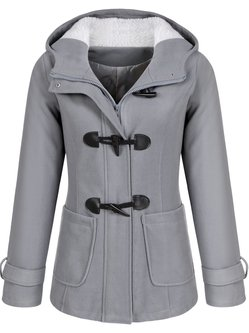 Buttoned Long Sleeve Hoodie Pockets Solid Pea Coat