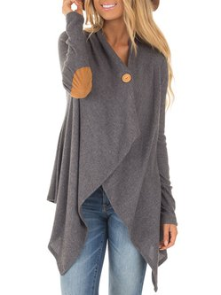Women's Coat Gray Casual Asymmetric Paneled Casual Coat