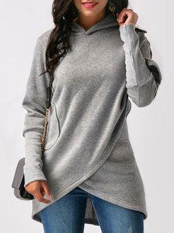 Fashion Solid Casual Long Sleeve Asymmetric Hoodie