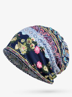 Women Conversible Cotton Print Stripe Beanie Hats Casual Hats And Scarf Use