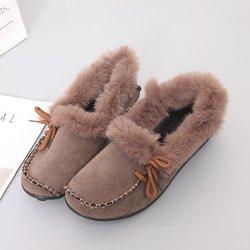 Non Slip Bowknot Flat Heel Winter Fuzzy Loafers