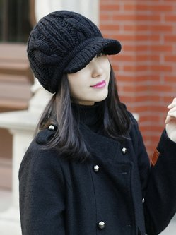 Cable Casual Knitted Solid Cap