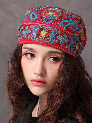 Womens Embroidery Florals Ethnic Cotton Beanie Hat Vintage Elastic Turban Cap