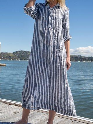 Plus Size Stripes Slit Women Vacation Maxi Dresses