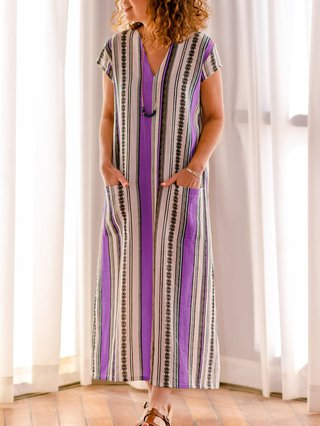 Printed Striped Tribal Shift Holiday Cotton-Blend Maxi Plus Size Dresses