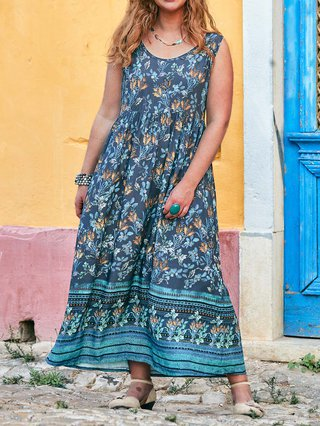 Printed Floral Crew Neck Shift Holiday Boho Plus Size Maxi Dresses