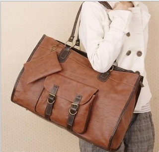 Vintage Women Pu Leather Large Bags Shoulder Handbag Travel Tote Purse Book