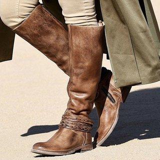 JustFashionNow Knee Boots Brown Zipper