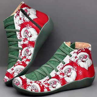 Christmas Shoe.Comfy Christmas Boots Flat Heel Plus Size Party Shoes