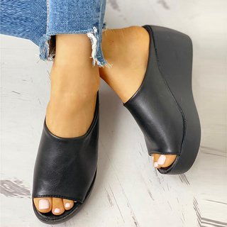 open toe wedge slippers
