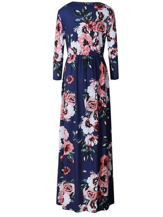 Dark Blue Casual Floral-print A-line Polyester Dress