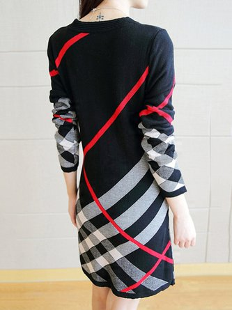 Black Plaid Crew Neck Casual Sweatshirt Dress