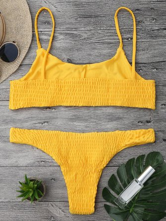 Smocked Speghrtti Solid Bralette Bikini