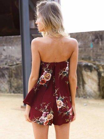Off Shoulder Floral-print Strapless Sleeveless Romper