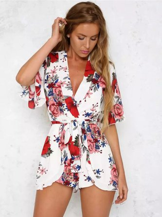 Floral Plunging Neck Print Frill Sleeve Romper