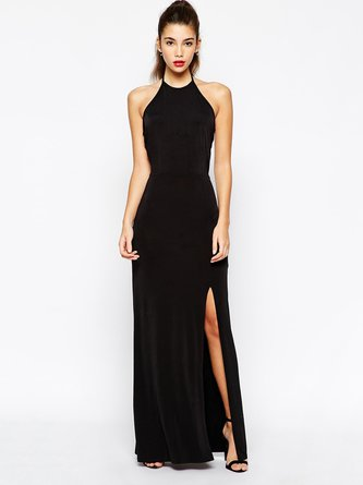Black Slit Solid Sleeveless Sexy Halter Open Back Dress