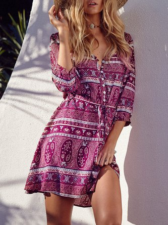 Drawstring Tribal 3/4 Sleeve Vintage Boho Dress
