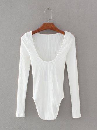 Knitted Scoop Neckline Long Sleeve Bodysuit
