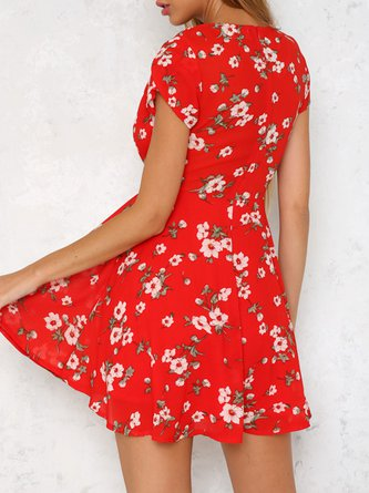 Summer Holiday Red V Neck Skater Dress