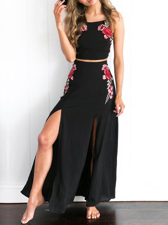 Light the Way Black Slit Two Piece Dress