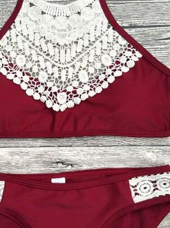 Burgundy Padded Halter Lace Paneled Bikini