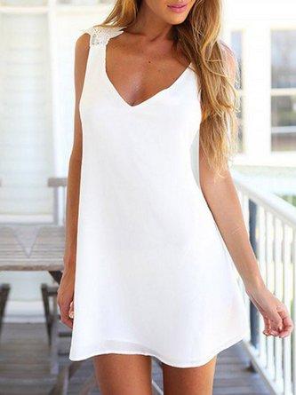 White Cross Back Girly V Neck Dress